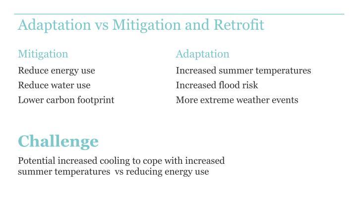 Adaptation vs Mitigation and Retrofit