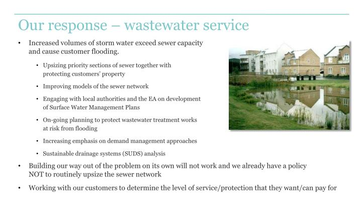 Our response – wastewater service