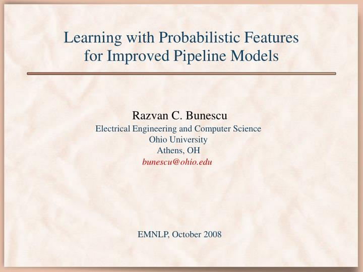Learning with Probabilistic Features