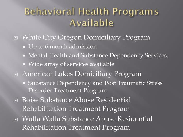 Behavioral Health Programs Available