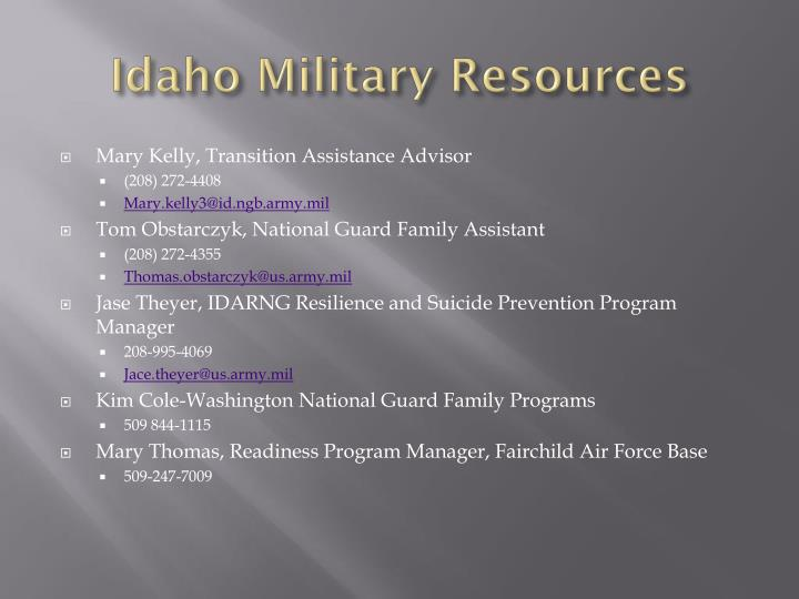 Idaho Military Resources