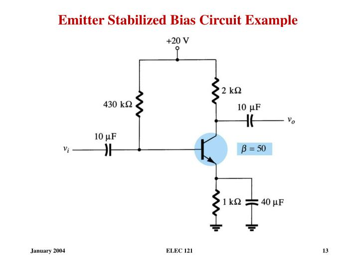 Emitter Stabilized Bias Circuit Example