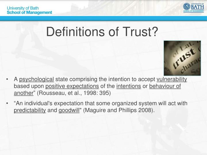 Definitions of Trust?