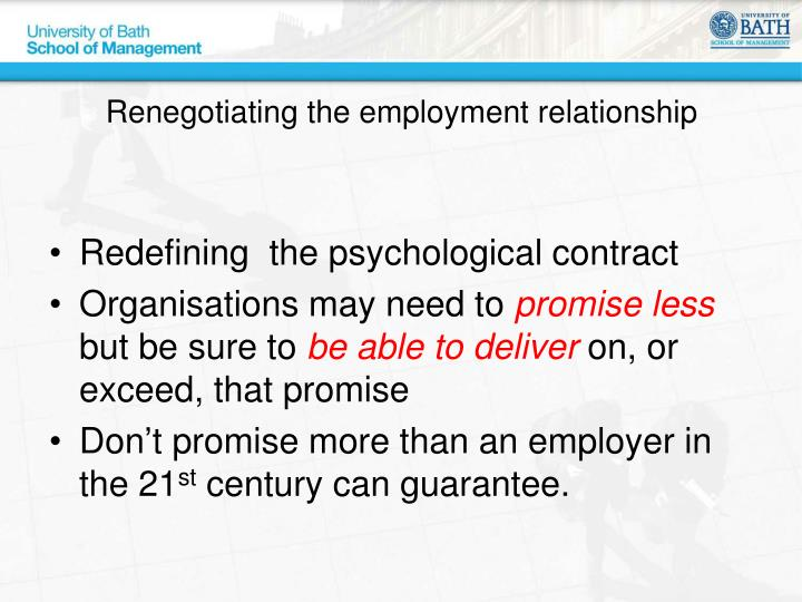 Renegotiating the employment relationship