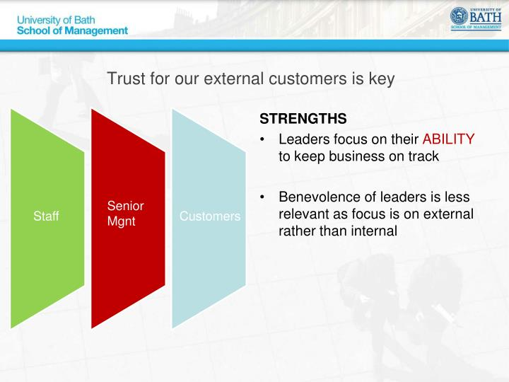 Trust for our external customers is key
