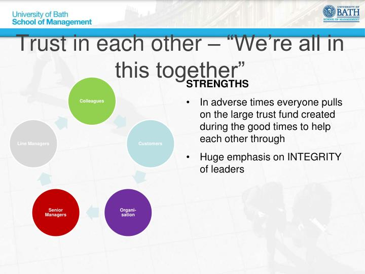 """Trust in each other – """"We're all in this together"""""""