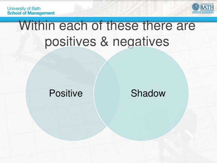 Within each of these there are positives & negatives