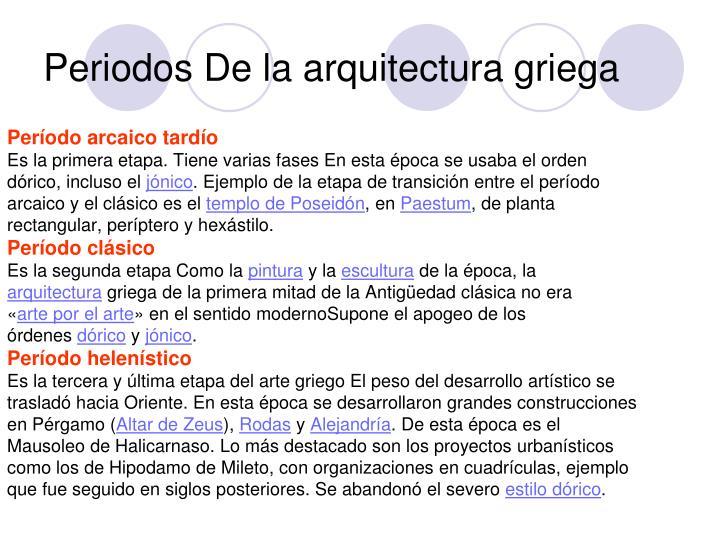 Periodos De la arquitectura griega