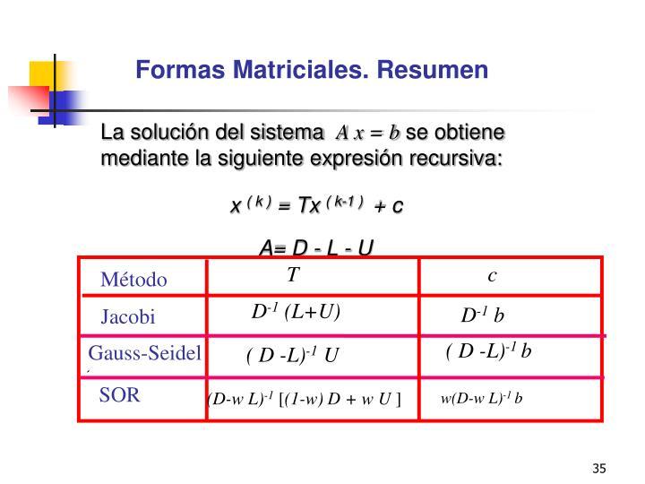 Formas Matriciales. Resumen