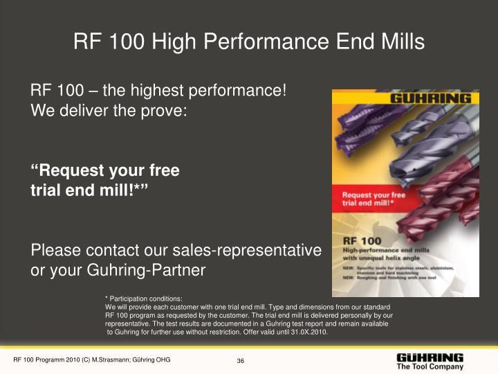 RF 100 High Performance End Mills