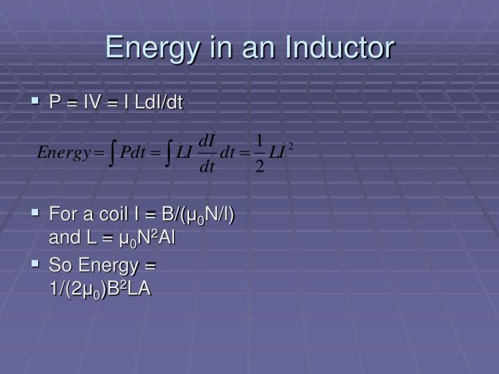 Energy in an Inductor