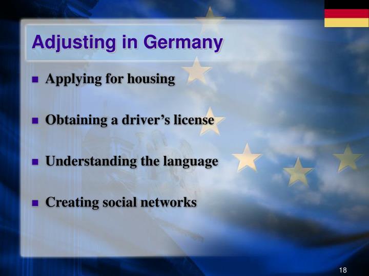 Adjusting in Germany