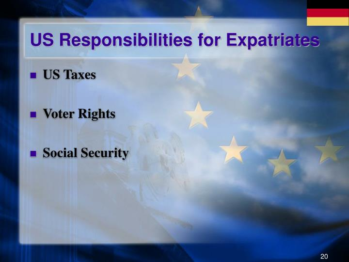 US Responsibilities for Expatriates