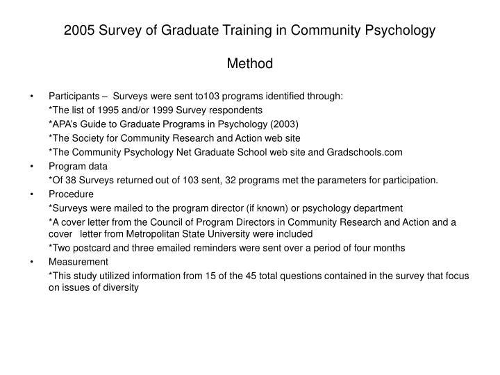 2005 Survey of Graduate Training in Community Psychology