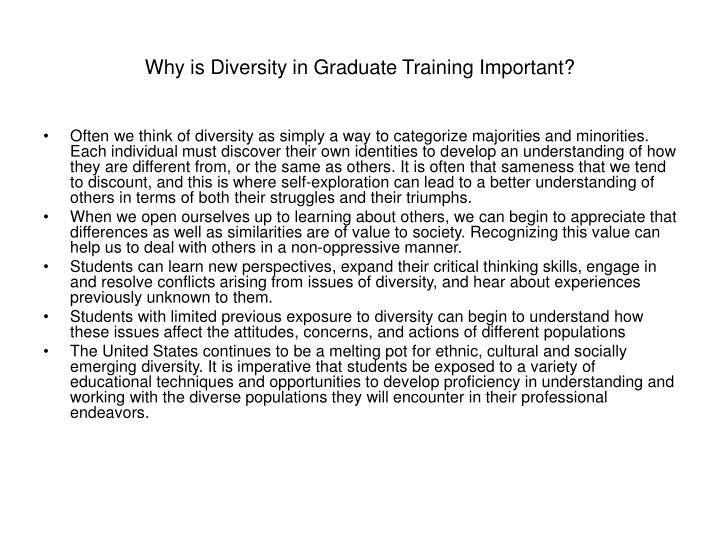 Why is Diversity in Graduate Training Important?
