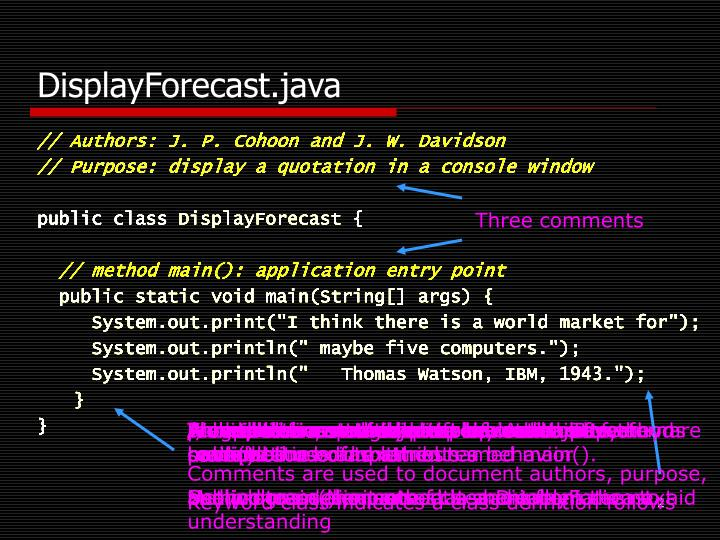 Displayforecast java