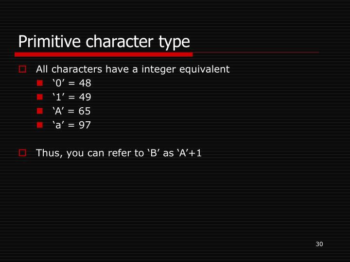 Primitive character type
