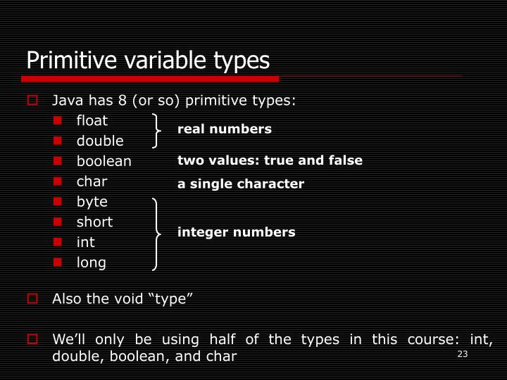 Primitive variable types
