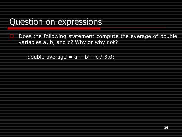 Question on expressions