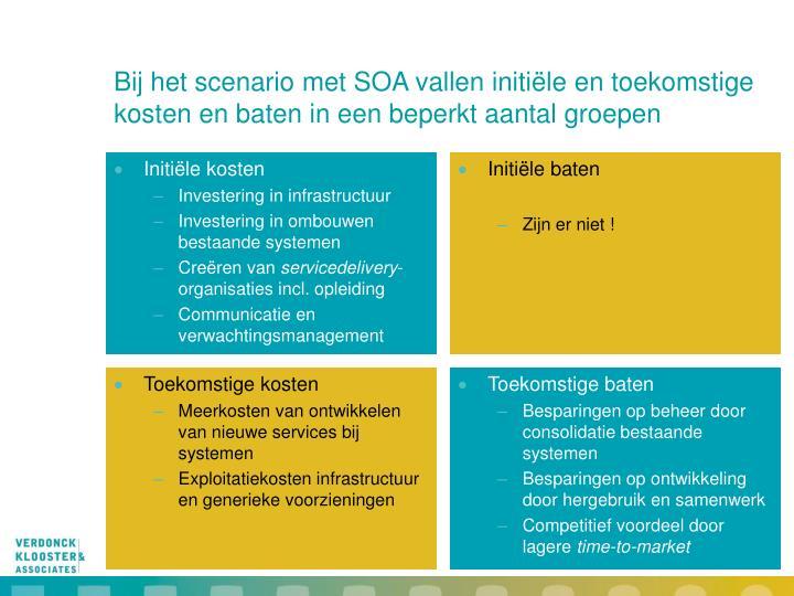 Bij het scenario met SOA vallen initiële en toekomstige kosten en baten in een beperkt aantal groepen