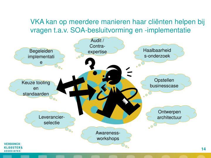 VKA kan op meerdere manieren haar cliënten helpen bij vragen t.a.v. SOA-besluitvorming en -implementatie