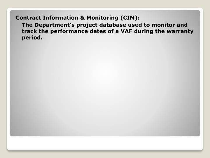 Contract Information & Monitoring (CIM):