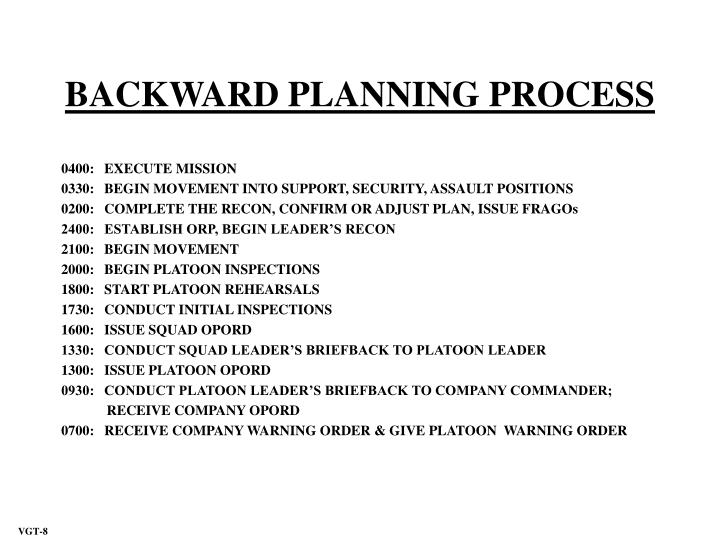 BACKWARD PLANNING PROCESS