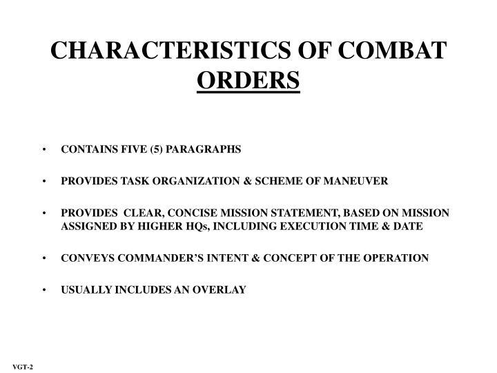 CHARACTERISTICS OF COMBAT