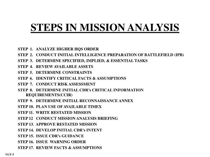 STEPS IN MISSION ANALYSIS