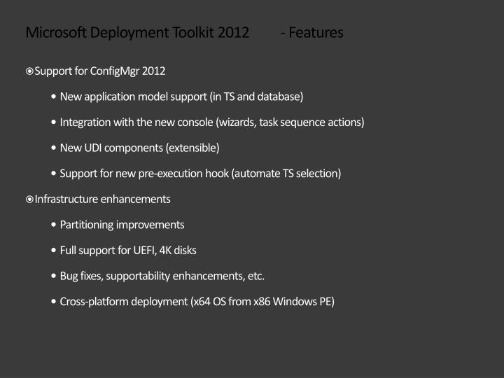 Microsoft deployment toolkit 2012 features