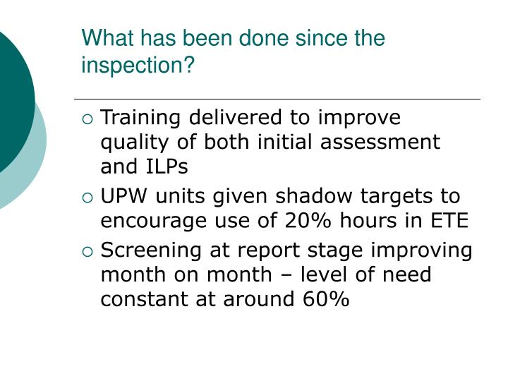 What has been done since the inspection?