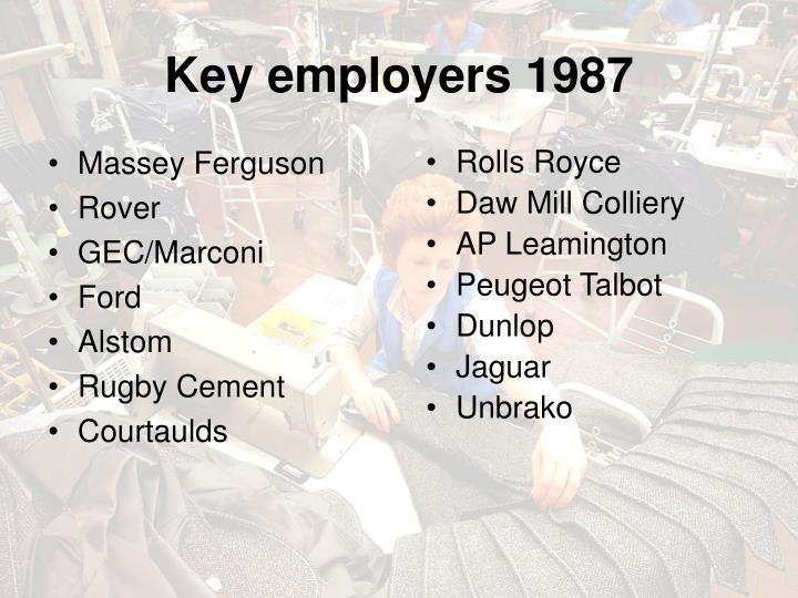 Key employers 1987