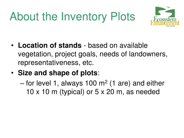 About the Inventory Plots