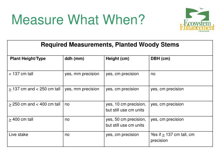 Measure What When?