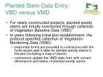 planted stem data entry vbd versus vmd