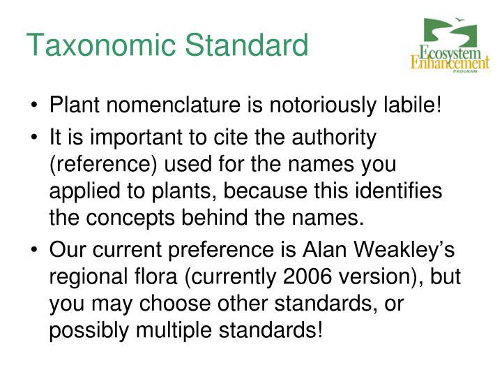 Taxonomic Standard