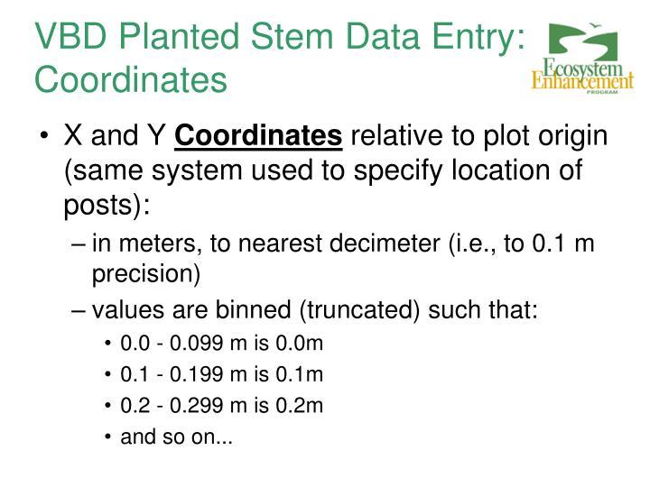 VBD Planted Stem Data Entry: