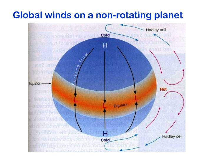 Global winds on a non-rotating planet