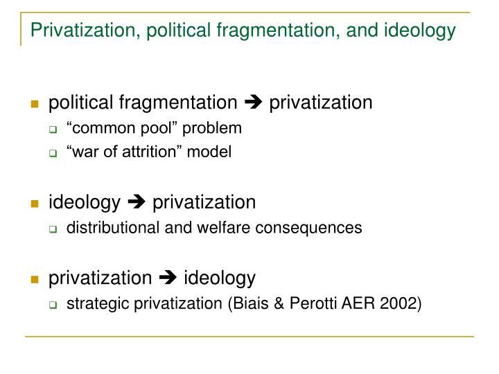 Privatization, political fragmentation, and ideology