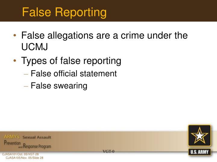 False Reporting