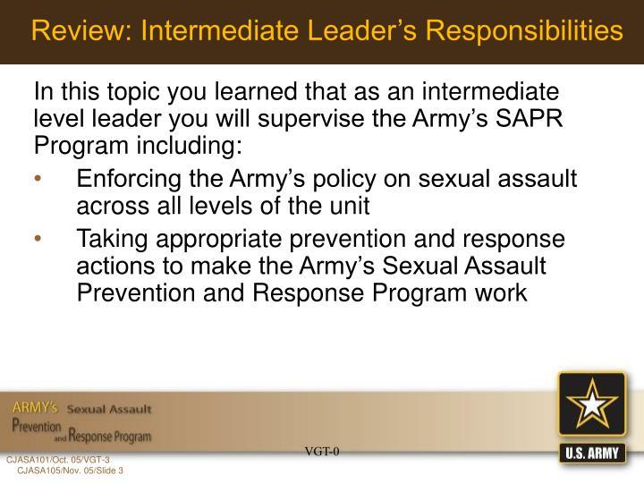 Review: Intermediate Leader's Responsibilities