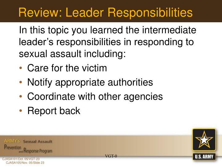 Review: Leader Responsibilities