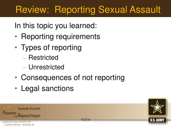Review:  Reporting Sexual Assault