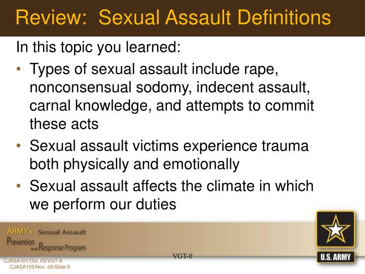 Review:  Sexual Assault Definitions