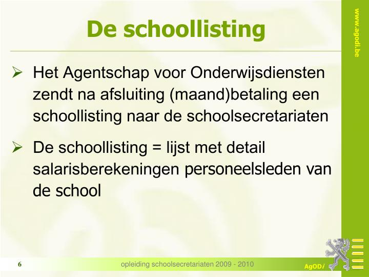De schoollisting