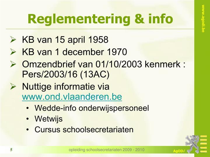 Reglementering & info