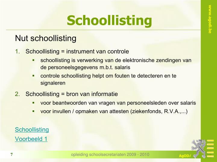 Schoollisting
