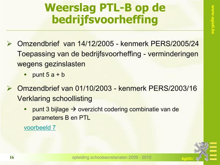 Weerslag PTL-B op de  bedrijfsvoorheffing