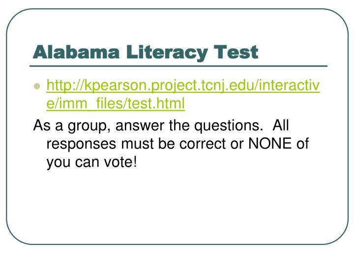 Alabama Literacy Test