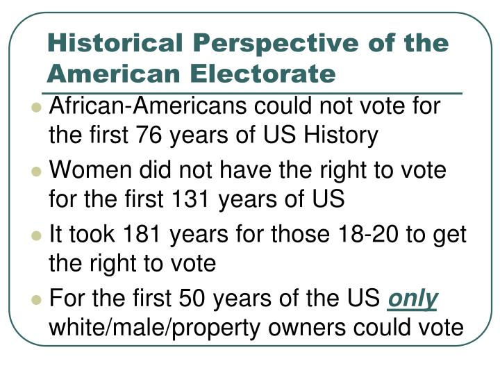Historical Perspective of the American Electorate